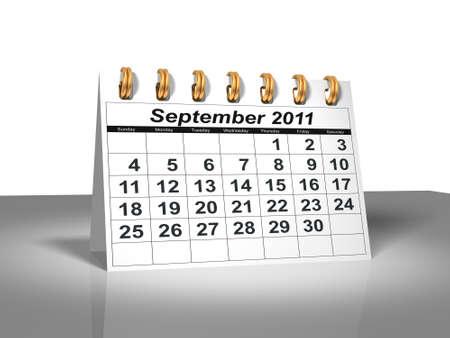 Desktop Calendar. September, 2011 Stock Photo
