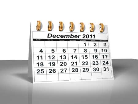 december kalender: De kalender van het bureau blad. December, 2011  Stockfoto