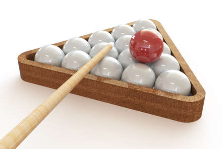 Billiard balls in the triangle and cue. 3d illustration on isolated white background.
