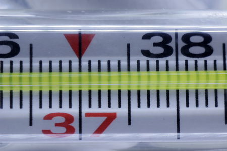 Thermometer in close-up on a dark wooden background, indicating the elevated temperature for the Cheleo-Chech body in degrees Celsius.