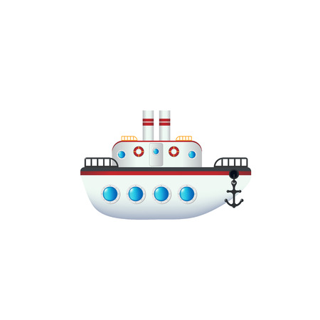 Vector ship icon with black anchor and portholes, isolated on background. Boat sticker.