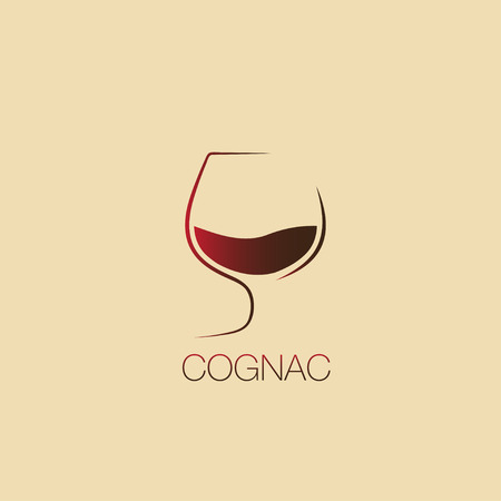 Cognac logo, glass of cognac, cognac symbol, vector icon. cognac logotype.