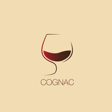 Cognac logo, glass of cognac, cognac symbol, vector icon. cognac logotype. Illustration