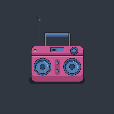 Pink Cartoon Vintage Radio Vector Illustration Record Player Royalty Free Cliparts Vectors And Stock Illustration Image 81479489