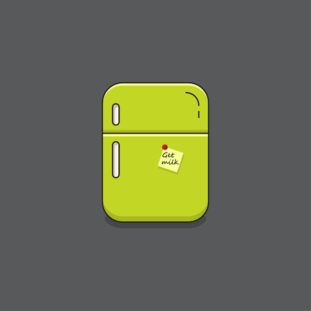 freeze: Modern line style fridge with paper note. Vector illustration logo.