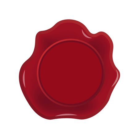 Red wax seal icon isolated on white background, vector illustration.