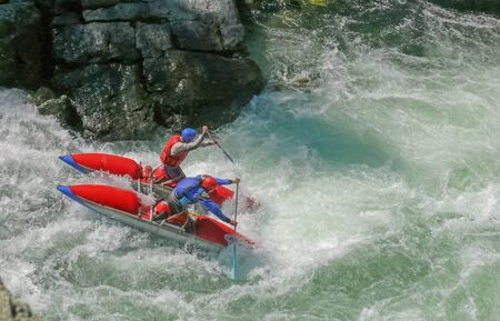 altai: Extreme rafting, Altai, Chuya river, Altai. Surmounting obstacle