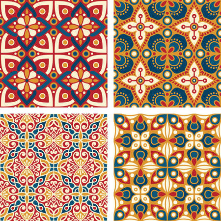 Set of Colorful Decorative Ornaments, Mosaic Seamless Vector Patterns for textiles, fabrics, covers, wallpaper, print, gift wrapping.