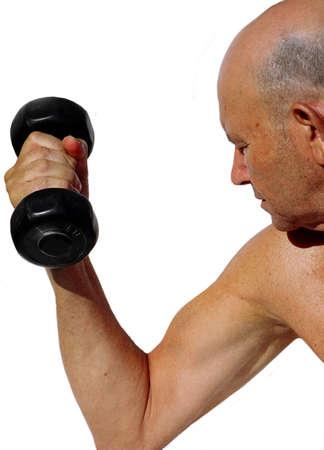 elderly gentleman lifting weights Stock Photo