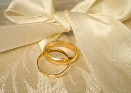 set of gold wedding rings Stock Photo
