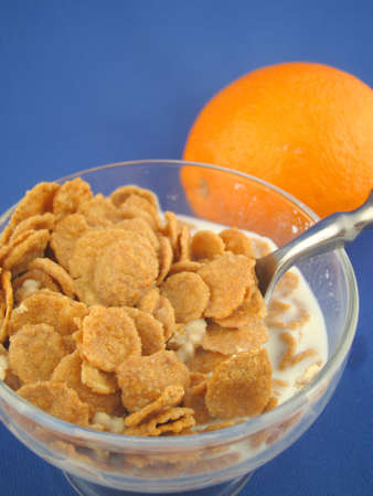 bl: bowl of breakfast cereal and orange
