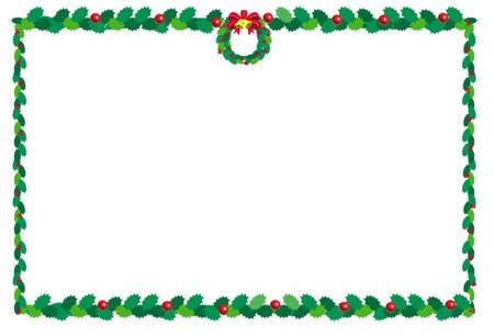 christmas backgrounds: holly and wreath christmas border