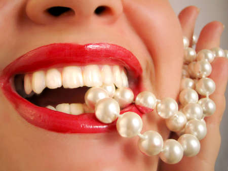 glamorous lips and pearls Stock Photo