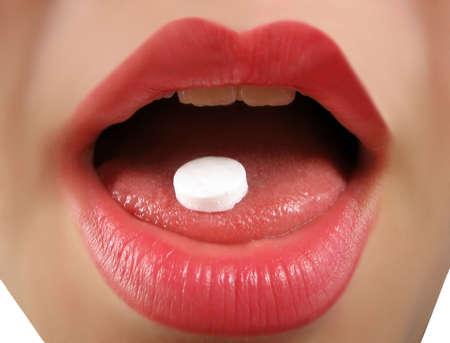 takes: woman takes a pill