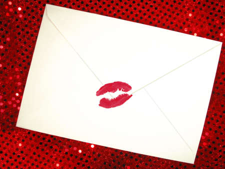 sultry: envelope sealed with a kiss Stock Photo