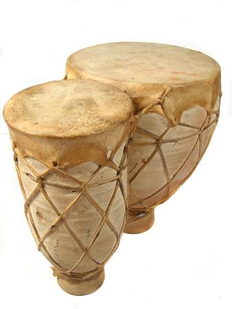 drumming: vertical image of isolated bongo drums Stock Photo