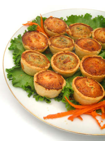 cater: mini quiches on a plate