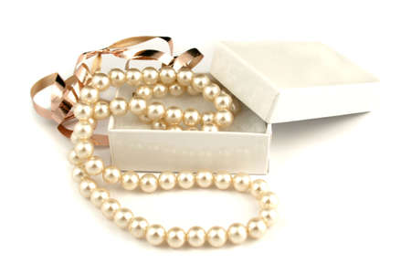 jewlery: a giftbox of pearls Stock Photo