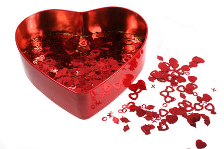 heart shaped tin with confetti