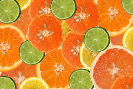 citruses: sliced citrus fruits