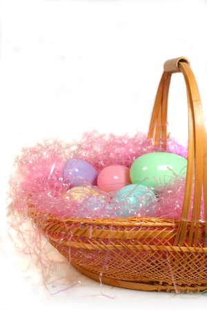 easter eggs in basket nest