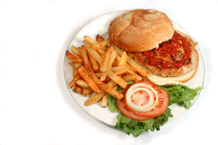 meaty: nutritious ground turkey burger and oven fries
