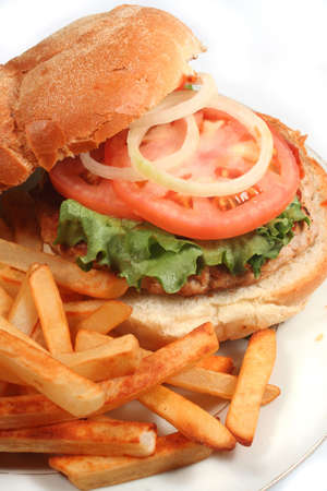 tomato catsup: nutritious ground turkey burger and oven fries