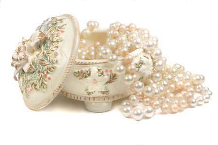 pearl necklace: strings of pearls and trinket box