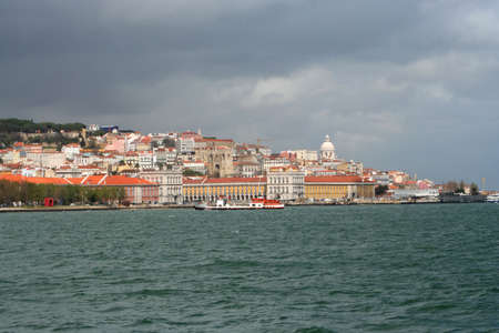 to other side: View of Lisbon from the other side of the river in Cacilhas Stock Photo
