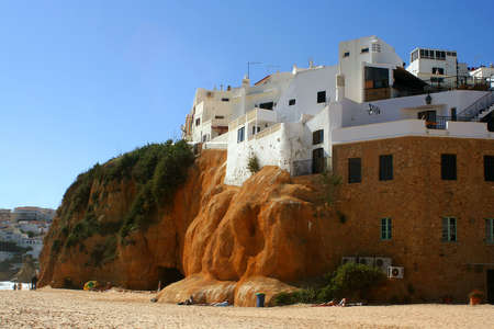 beach homes on a cliff in Albufeira, Algarve, Portugal