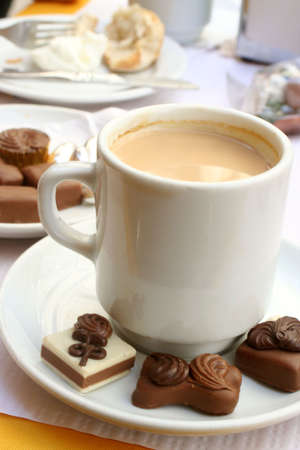 delicious truffles and coffee for dessert