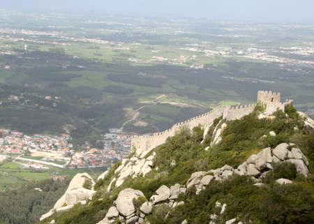 sintra: Castle Mouro in the cliffs of Sintra, Portugal