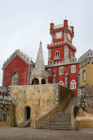 clocktower in Pena Palace, Sintra, Portugal photo