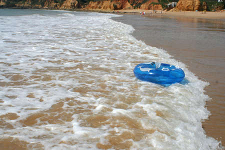 Floating tube being washed ashore