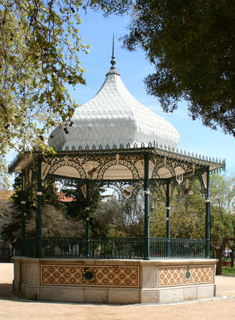 staging: gazebo (bandstand) in a park
