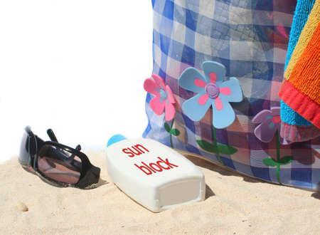 beach bag and beach items