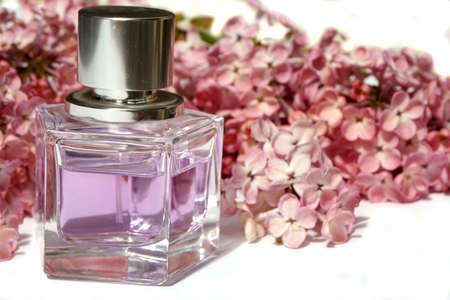 lilac scented perfume, and lilacs Stock Photo