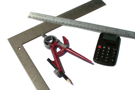 sums: measurements and calculation Stock Photo