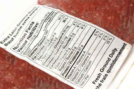 nutritional label on lean ground beef package