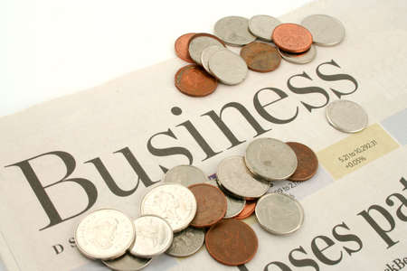 informational: business section of newspaper Stock Photo