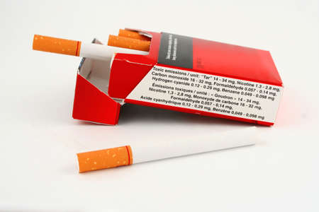 toxin: warning label on the side of a cigarette package