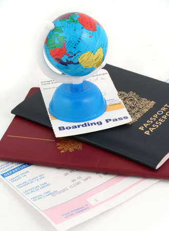 travel documents and globe