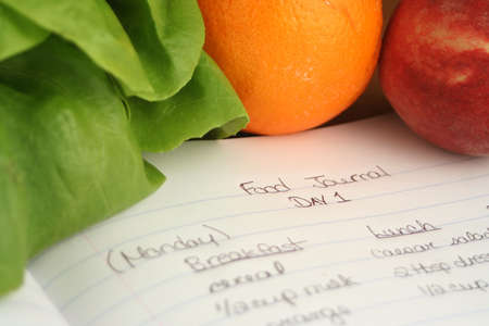 throughout: diary of food eaten throughout the day when on a diet (shallow DOF)