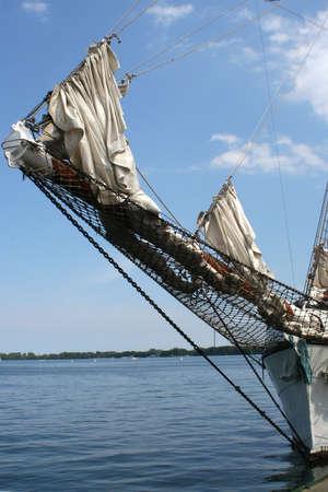 ship bow: the bow of a docked ship