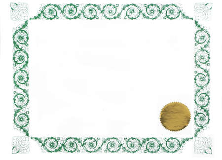 certificate border and gold stamp, blank for text photo