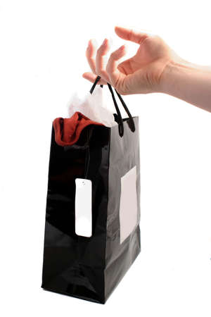 shopping bag with blank price tag hanging