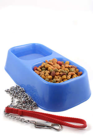 dog  tray with food and water and leash chain