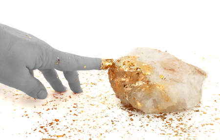 golden fingertip turns rock into gold :)