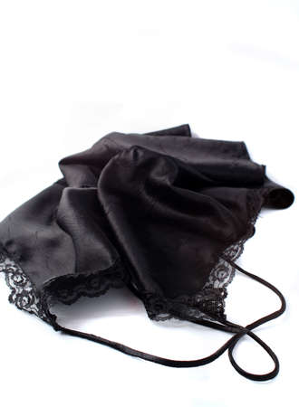 undergarment: black silk and lace lingerie Stock Photo