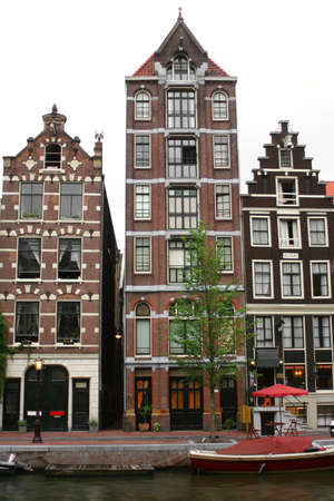 gabled: houses along an Amsterdam canal Stock Photo